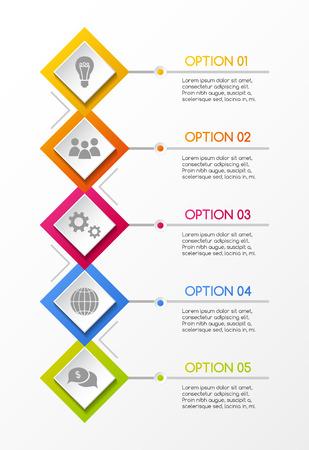 Diseño infográfico colorido con iconos de negocios. Vector. Ilustración de vector