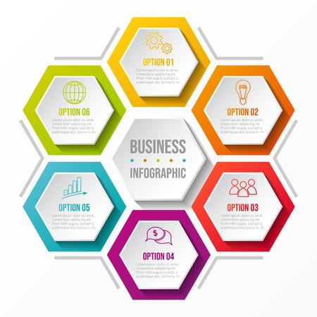 Hexagonal diagram with business icons - concept of infograph. Vector. Illusztráció