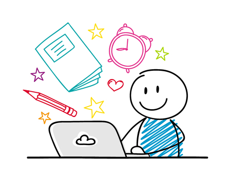 Smiley stickman working on laptop - school concept with accessories. Vector.