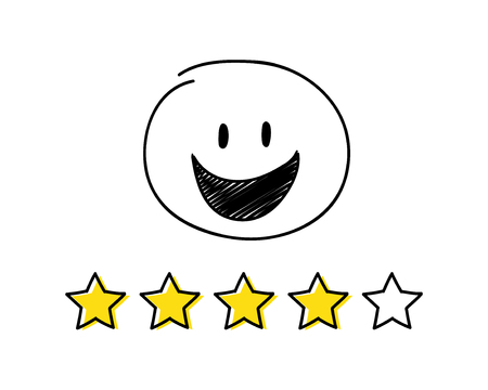 Rating icon - four stars. White coloured happy stickman. Vector.