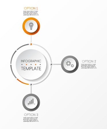 Layout of round infographic with icons. Vector.
