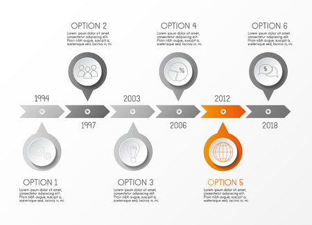 Gray company timeline with business icons. Vector.