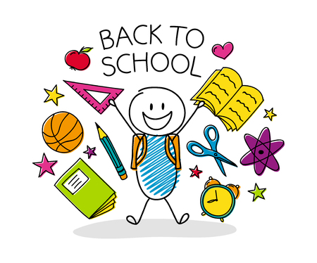 Welcome back to school - concept with funny cartoon character. Vector. Vectores