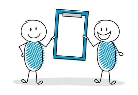 Happy hand drawn stickman holding clipboard with copyspace. Vector.