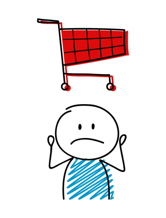 Shopping cart icon with confused stickman. Vector.