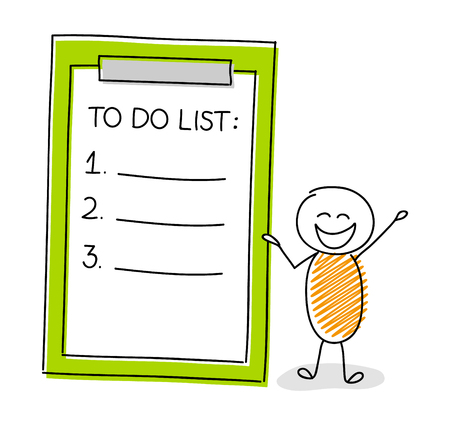 Happy cartoon character showing to do list icon. Vector.