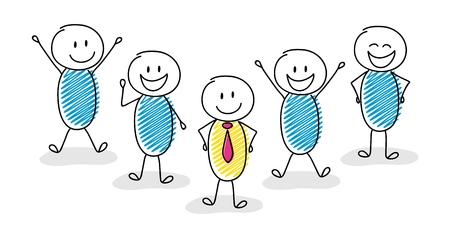 Business concept with group of hand drawn people with their team leader. Vector.
