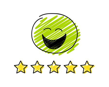 Bewertung - Fünf-Sterne-Bewertung. Glücklicher grüner Strichmännchen. Vektorgrafik