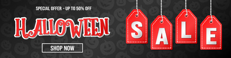 Halloween Sale - colourful banner with pumpkins. Vector.