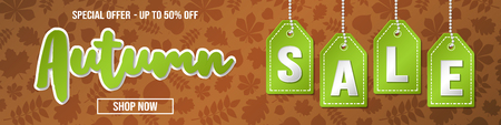 Concept of banner with leaves for Autumn Sale. Vector. Banque d'images - 111798931