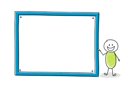 Funny cartoon character holding empty white board. Vector.