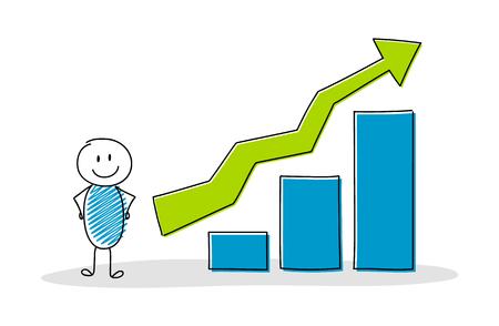 Funny businessman showing column graph. Vector. Standard-Bild - 111798938