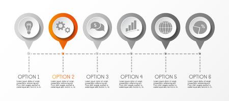 Infografía redonda con iconos de negocios. Vector.