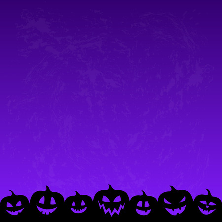 Halloween background with funny silhouettes of pumpkins. Vector. Illustration