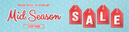 Mid Season Sale - glänzender Hintergrund mit Prozenten. Vektor.
