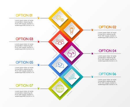 Layout of rhombus infographic with business icons. Vector. Ilustración de vector