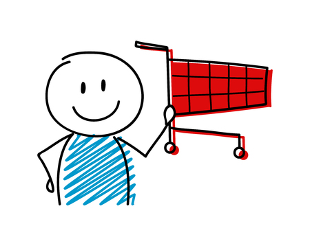 Shopping cart icon with smiley stickman. Vector.