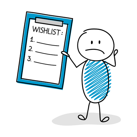 Funny cartoon character showing clipboard with wishlist. Vector