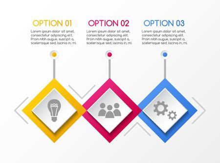 Infografía empresarial con iconos de rombos. Vector.