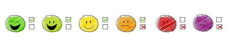 Mehrfarbiges Set mit Stickmen und Tick-Icons. Vektor.