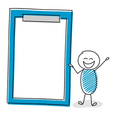 Cartoon stickman with empty clipboard. Vector.