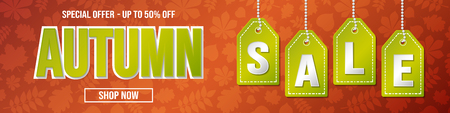 Autumn Sale - special offer up to 50% off. Concept of banner. Vector.