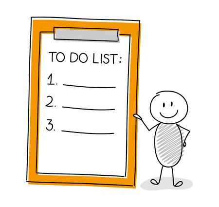Funny character with to do list. Vector.