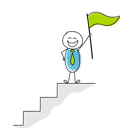 Leadership concept with happy stickman holding flag. Vector.