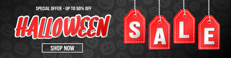 Halloween Sale - concept of panoramic banner. Vector.