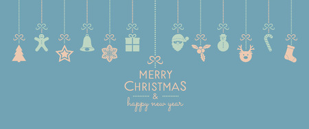 Merry Christmas and Happy New Year - card with decorations and wishes. Vector. Archivio Fotografico - 110431578