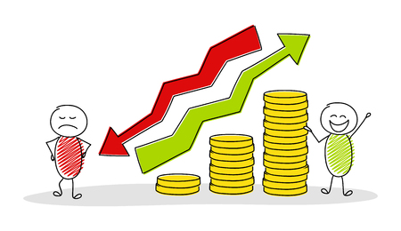 Business pictogram with cartoon stickmen showing graph with coin stacks. Vector.