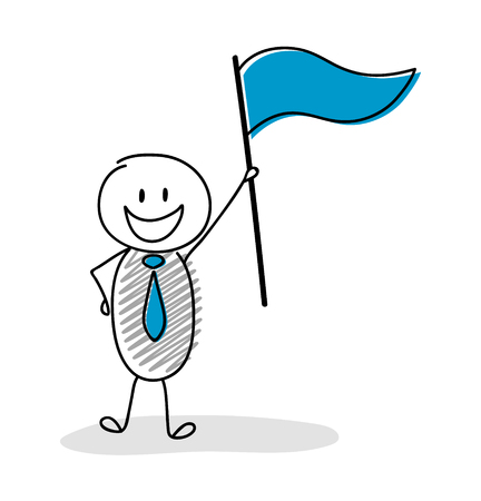 Hand drawn illustration showing character with flag - leader concept. Vector. Vettoriali