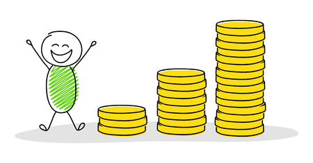 Hand drawn cartoon person with coin stacks chart. Vector.