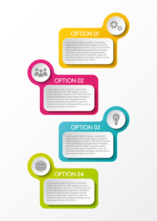 Design of colorful infographic with icons. Vector.