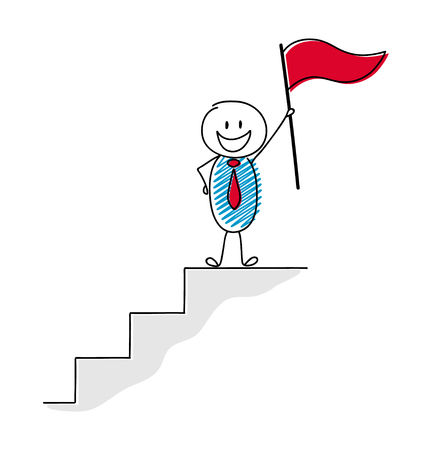 Leadership concept with happy stickman holding flag.