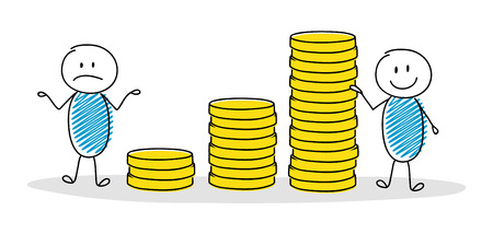 Hand drawn cartoon people showing business chart with coin stacks. Vector.