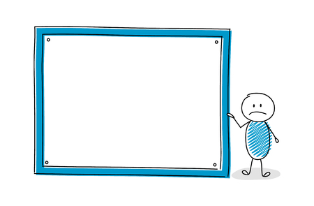 Funny cartoon character with empty white board. Vector.