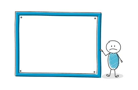 Personaje de dibujos animados divertido con tablero blanco vacío. Vector. Ilustración de vector