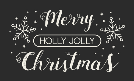 Christmas card with decorative text and ornaments. Illustration