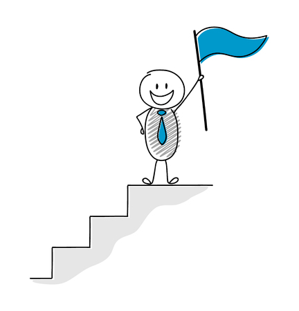 Concept of leader holding flag - funny stickman. Vector. 일러스트