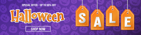 Halloween Sale - concept of banner with pumpkins. Vector.