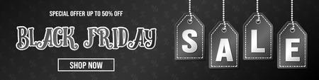 Black Friday Sale - design of modern banner. Vector. Ilustração