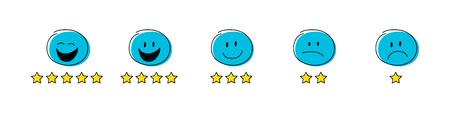 Star rating - set with funny stickman. Vector. Reklamní fotografie - 109937863