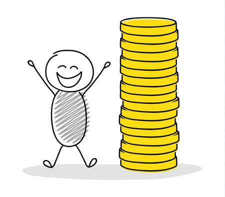 Happy hand drawn stickman showing money stack. Vector.