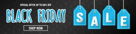 Black Friday Sale - glossy banner with text. Vector. Vektorgrafik