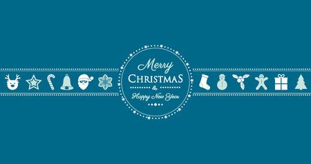 Salutations de Noël avec des décorations vintage. Vecteur.