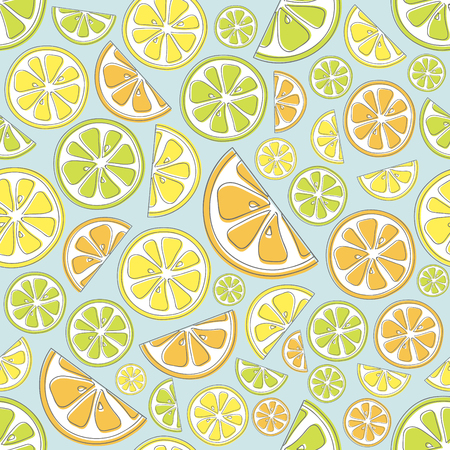 Pastel colored background with citrus fruits - seamless texture. Vector.