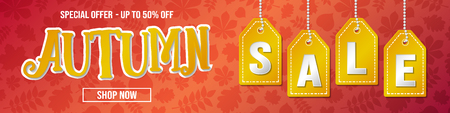 Autumn Sale - vibrant background with leaves. Vector. Banque d'images - 110773599