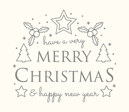 Concept of Christmas background with ornaments and wishes. Vector.