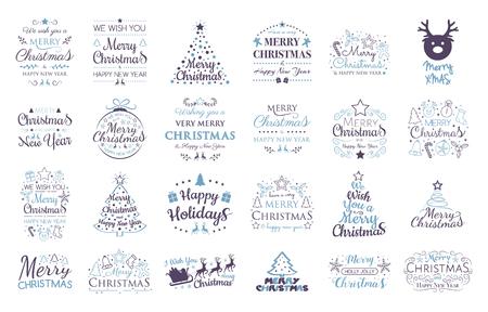Set mit Weihnachtsschmuck und Wünschen. Vektor. Vektorgrafik